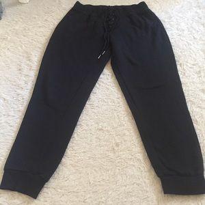 Black sweatpants lace up detailing joggers